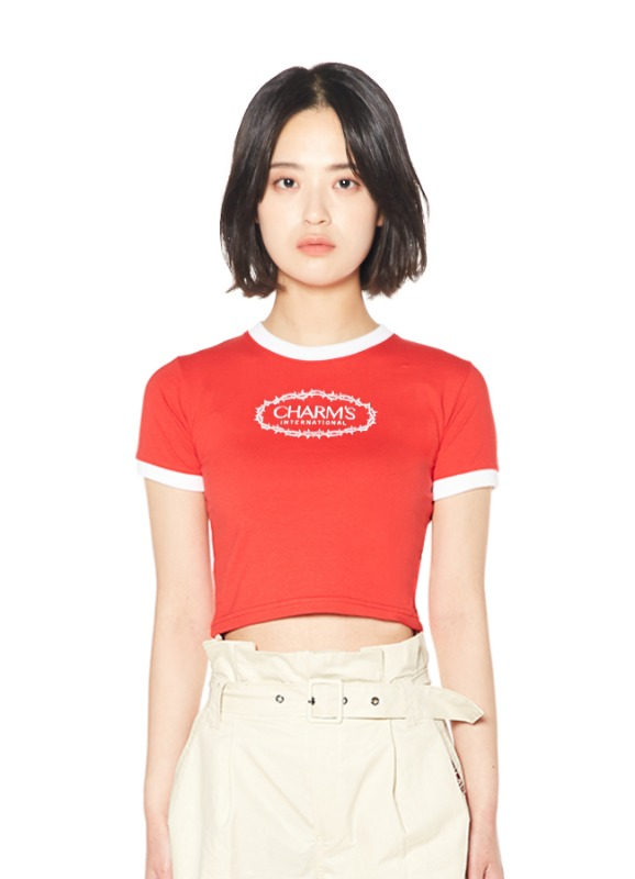 CHARMS ROSE CIRCLE LOGO CROP T_RE