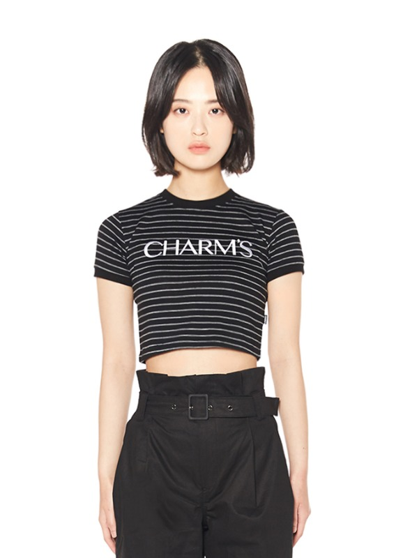 CHARMS BASIC LOGO STRIPE CROP T_BK