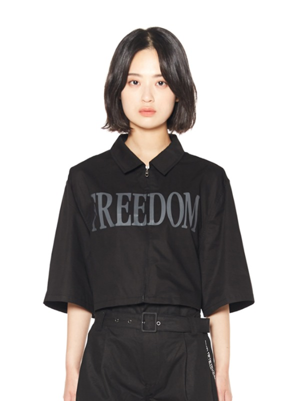 CHARMS CROP HALF ZIP-UP SHIRTS_BK