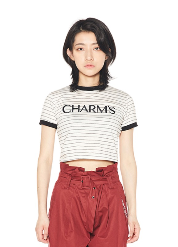 CHARMS BASIC LOGO STRIPE CROP T_WH
