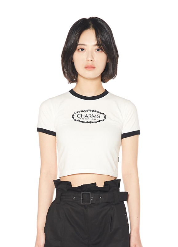 CHARMS ROSE CIRCLE LOGO CROP T_WH