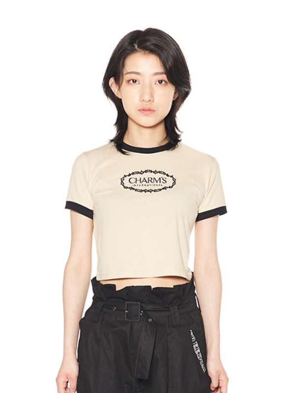 CHARMS ROSE CIRCLE LOGO CROP T_BE