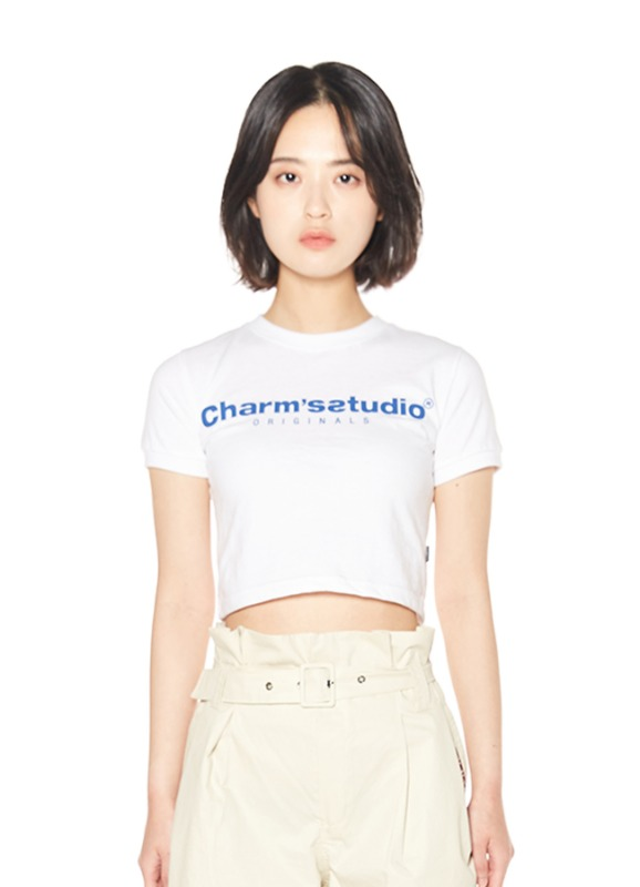 CHARMS STUDIO BASIC LOGO CROP T_WH