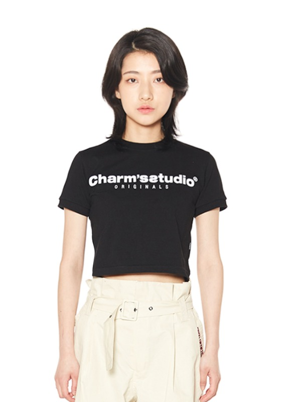 CHARMS STUDIO BASIC LOGO CROP T_BK
